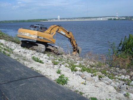 Backhoe Working in Water